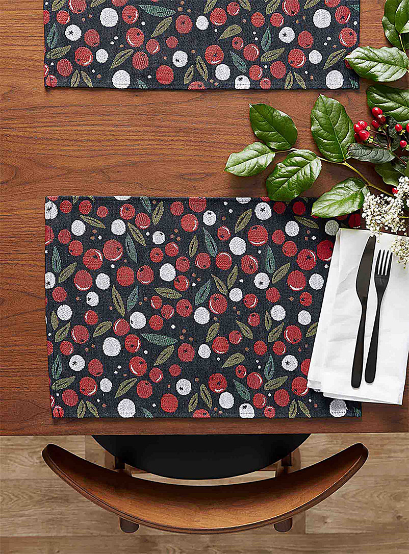 Winter berry tapestry placemat - Fabric - Assorted