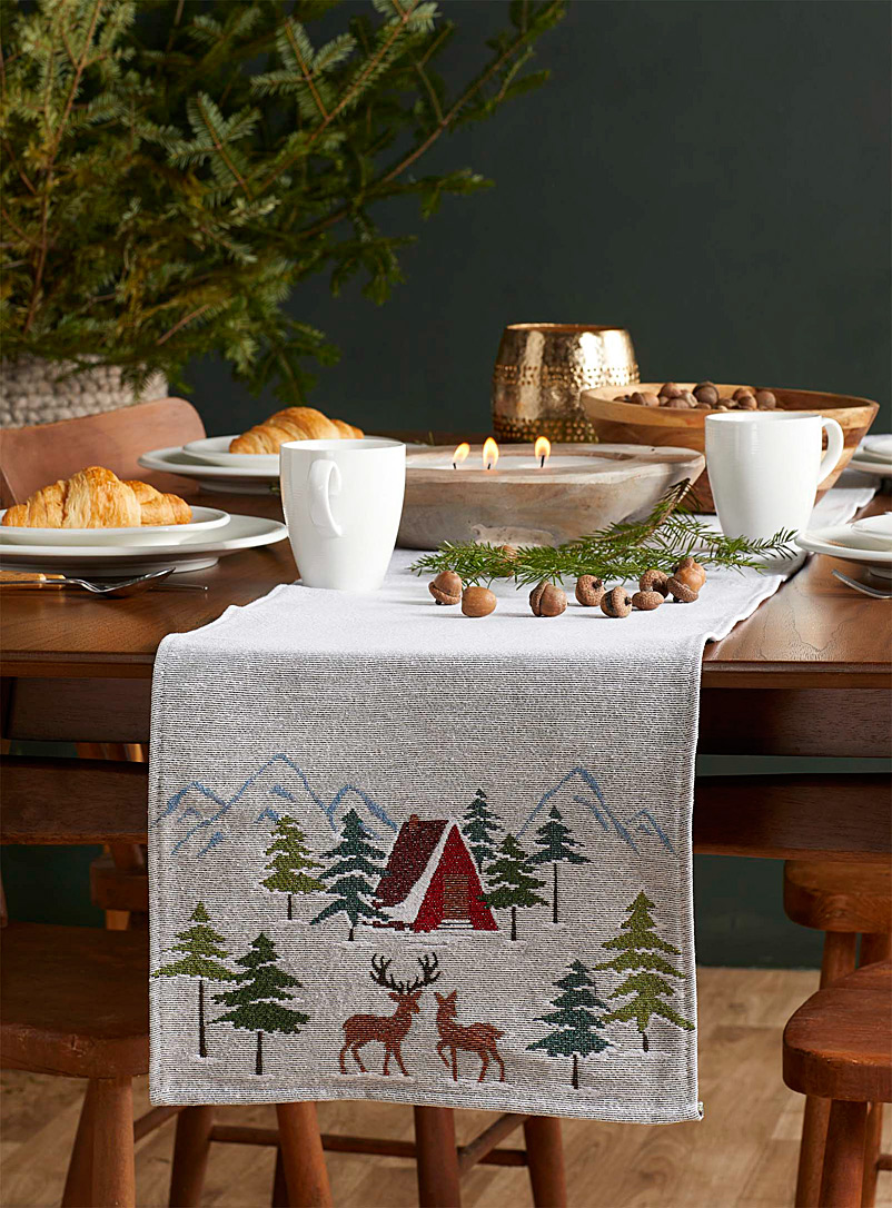 Mountain cottage tapestry table runner  33 x 180 cm