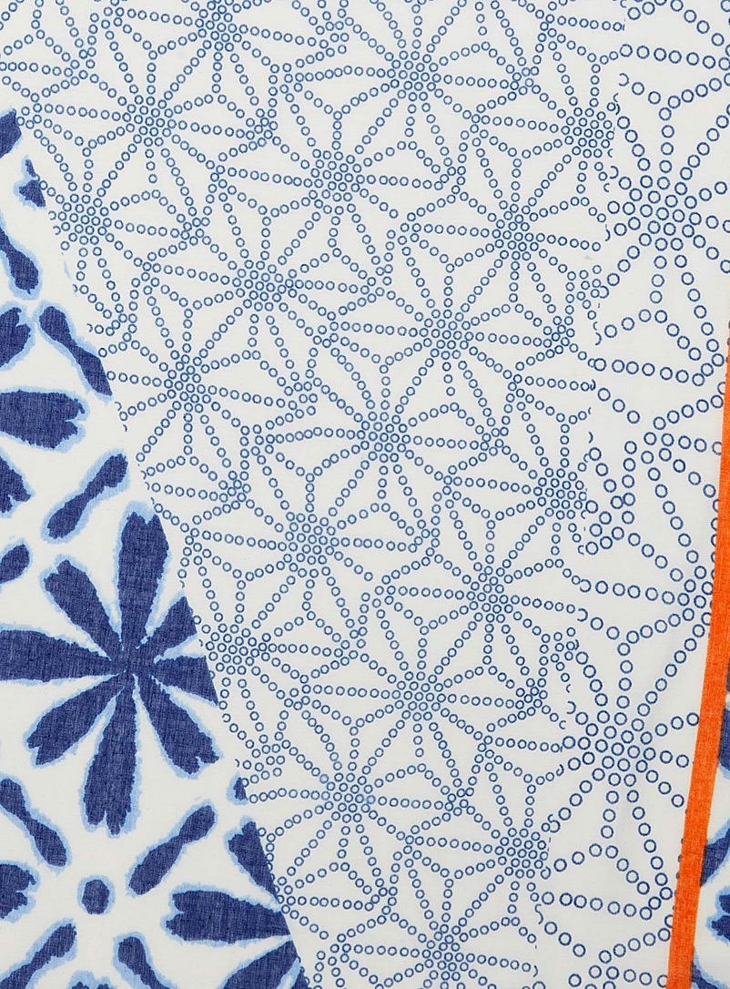 Simons Patterned Blue Floral tie-dye and pompom scarf for women