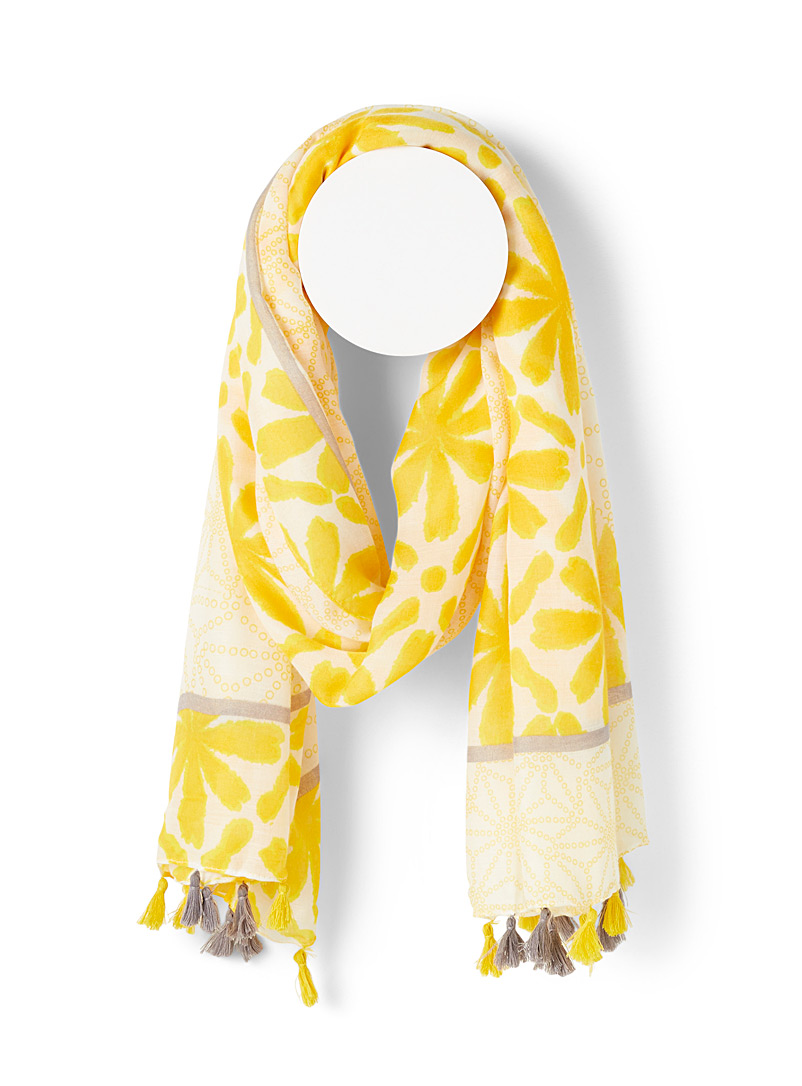 Simons Patterned Yellow Floral tie-dye and pompom scarf for women