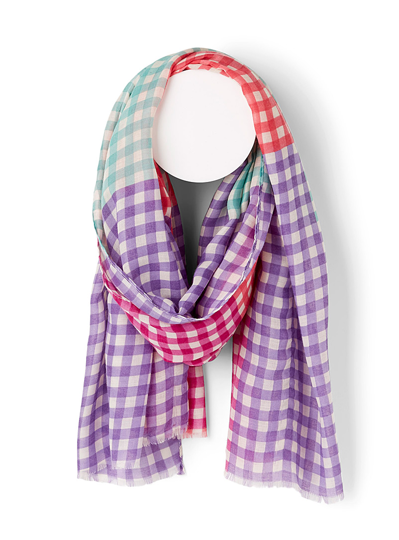 Simons Assorted Summer gingham check scarf for women