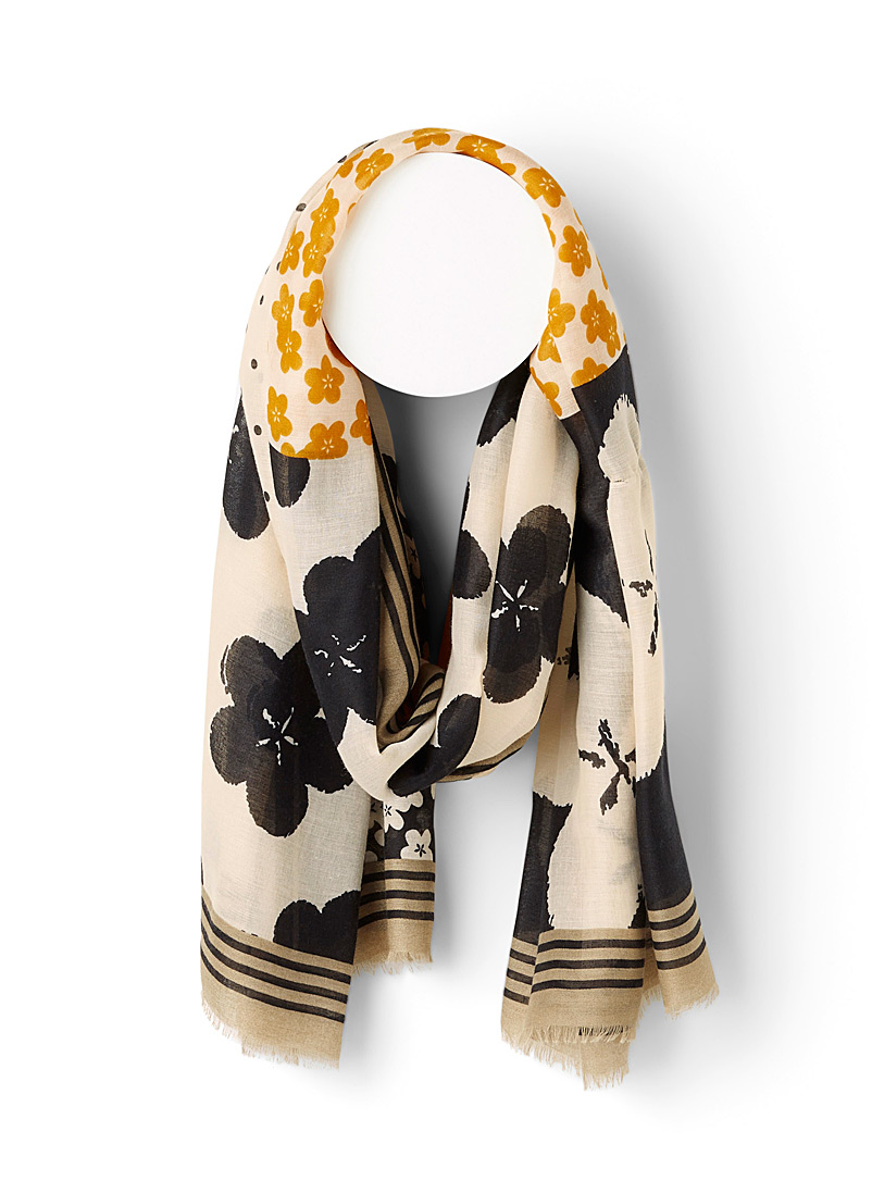 Simons Assorted black  Floral patchwork scarf for women