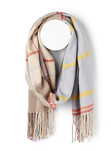 Simons Assorted blue  Amber-toned check scarf for women