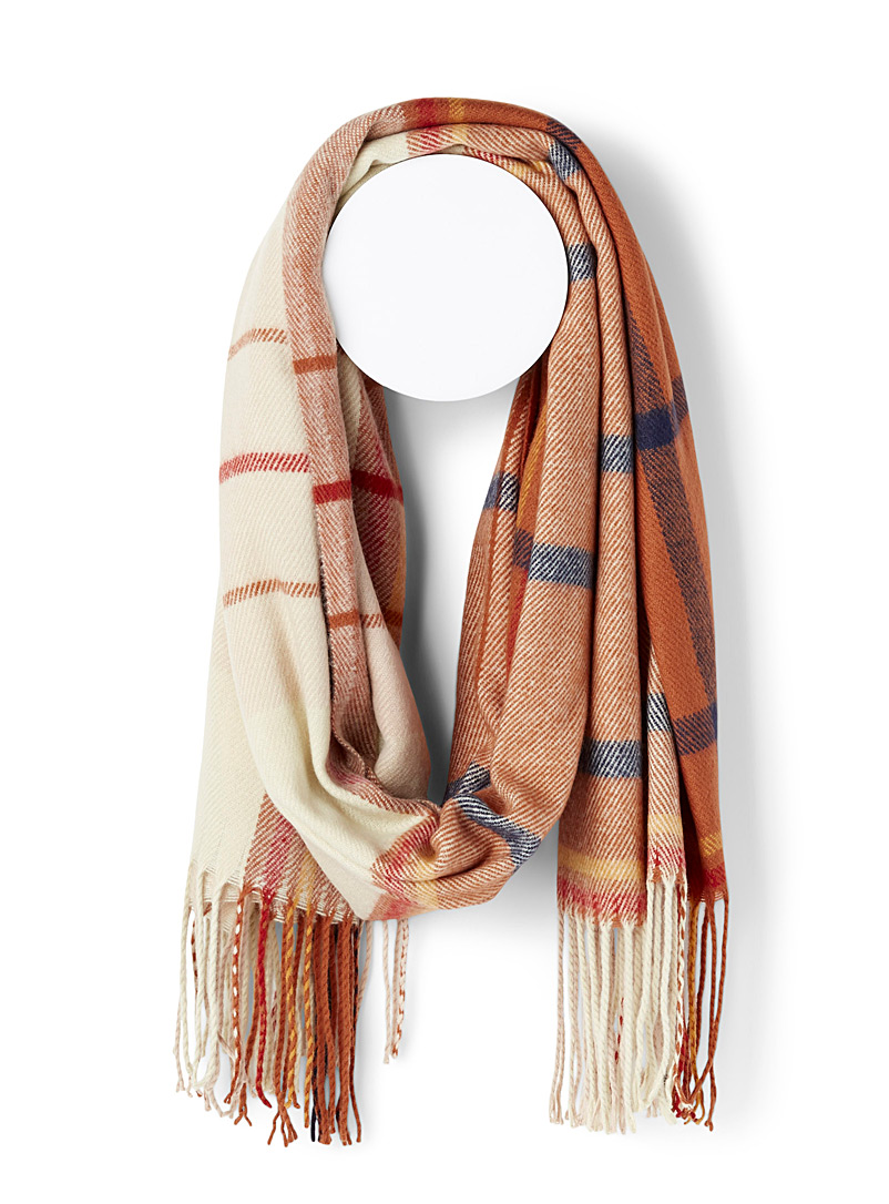 Simons Patterned Orange Amber-toned check scarf for women