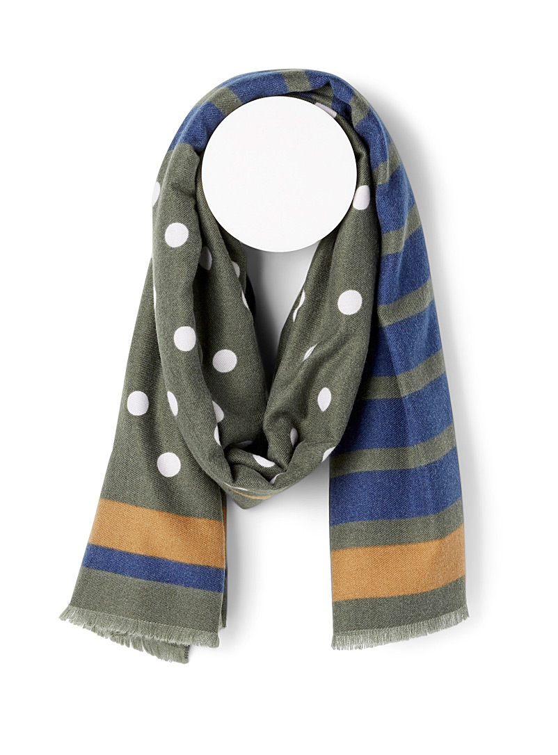 Simons Patterned Green Stripes and dots ultra soft scarf for women