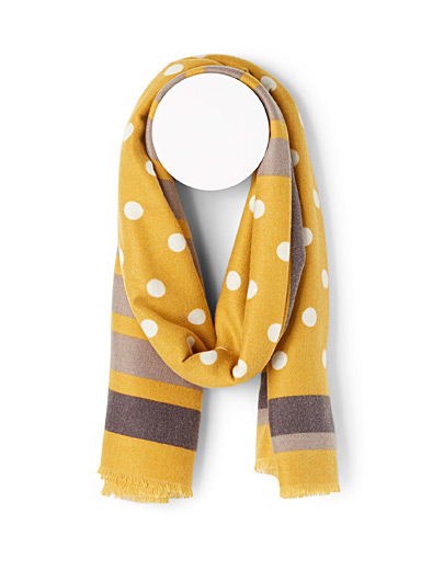 Simons Patterned Yellow Stripes and dots ultra soft scarf for women