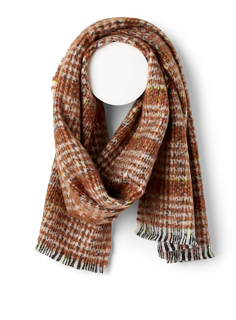 Simons Patterned Brown Blurred tartan fluffy scarf for women
