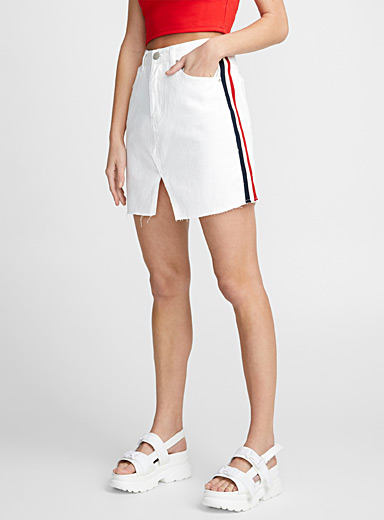 Sporty stripe denim skirt