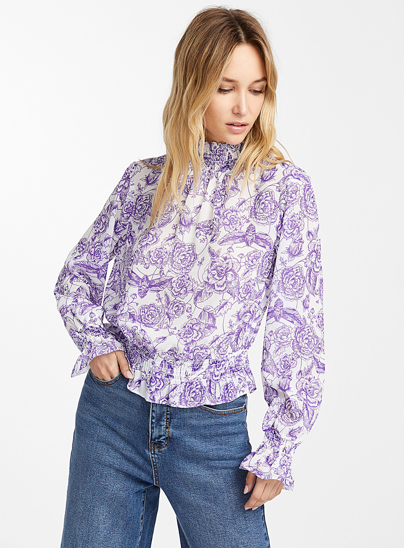 ruched-band-floral-blouse
