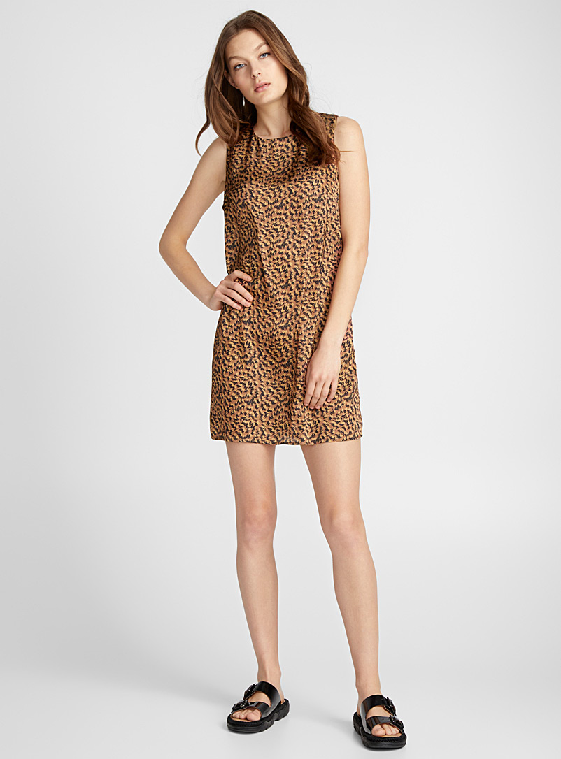 Print trapeze dress - Straight - Patterned Brown