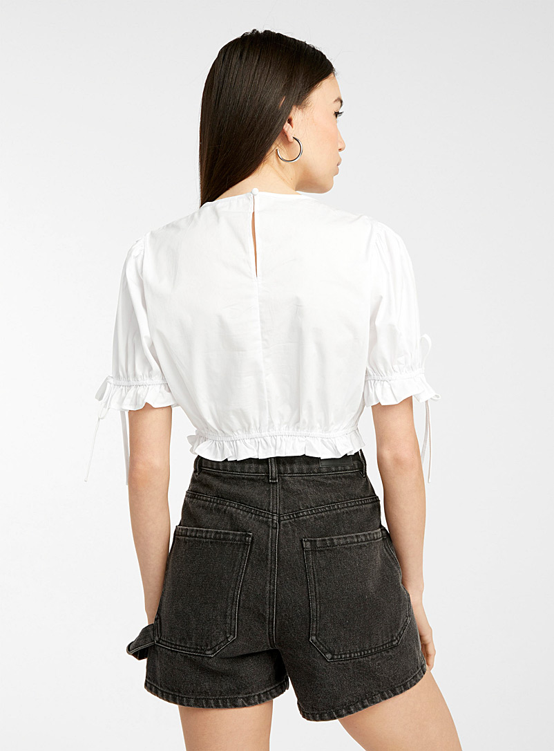 Twik White Ruffle and bow cropped blouse for women