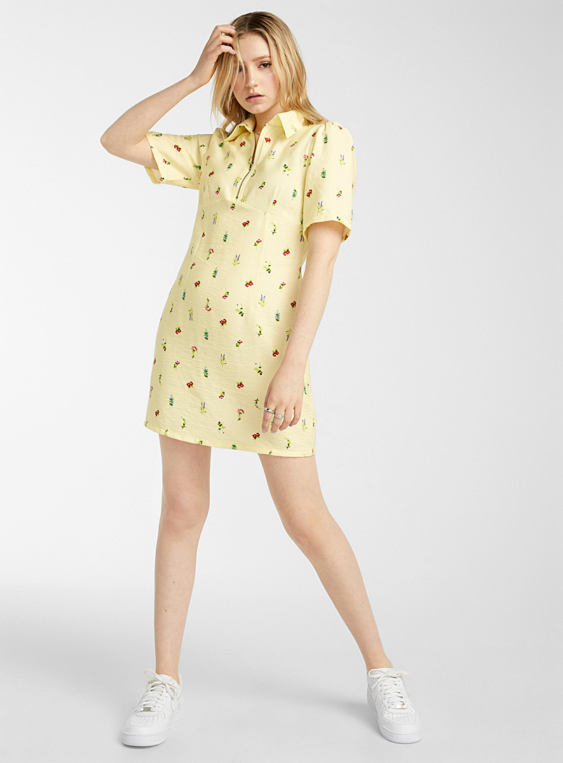 Twik Patterned Yellow Floral half-zip polo dress for women