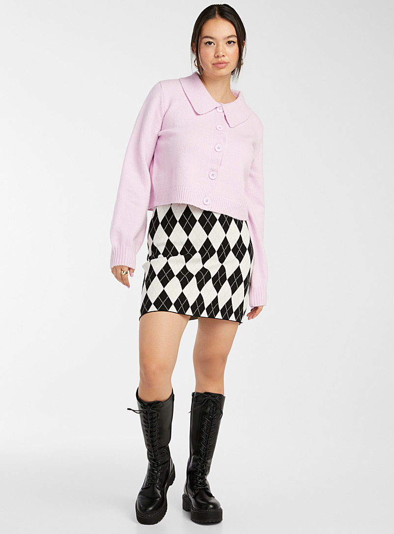 Glamorous Lilacs Cropped bubble-sleeve polo cardigan for women