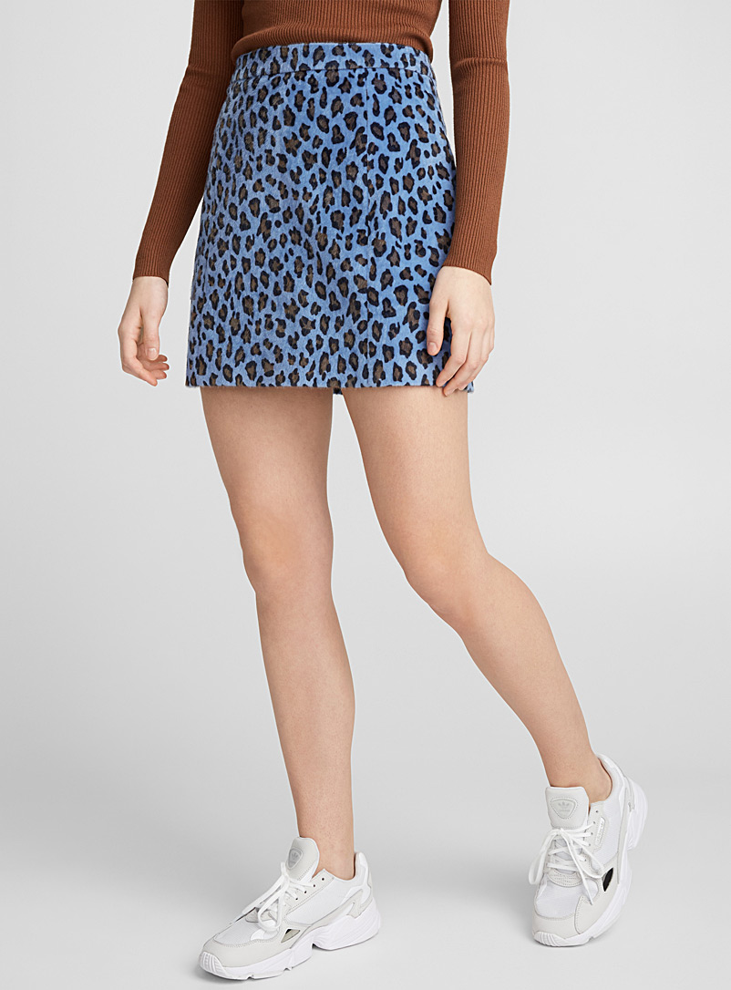Blue leopard felt miniskirt - Short - Patterned Blue
