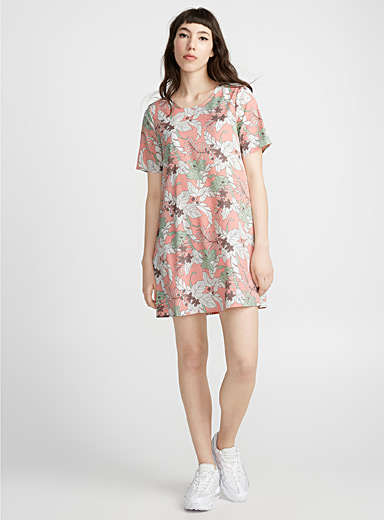 Floral drawings shift dress