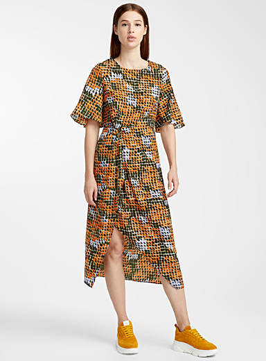 Check mosaic faux-tie dress