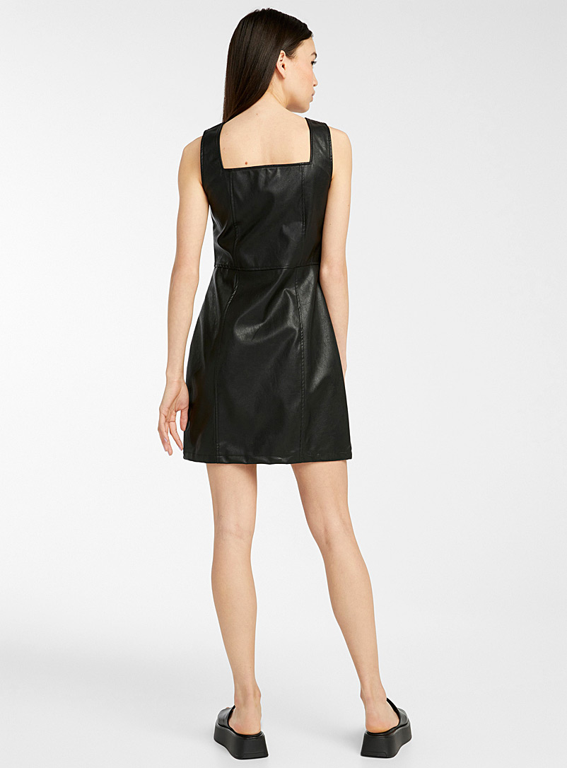 Glamorous Black Buttoned faux-leather fitted dress for women