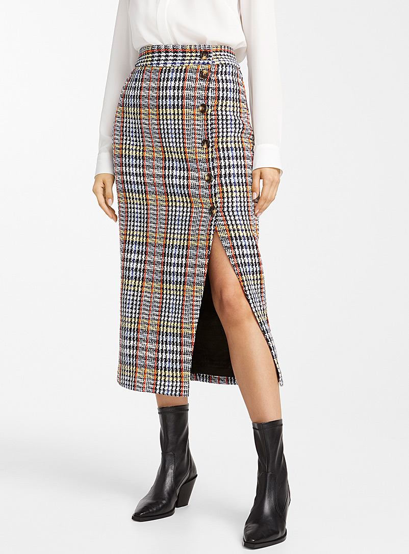 buttoned-check-tweed-skirt