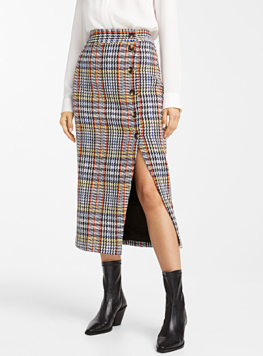 Buttoned check tweed skirt