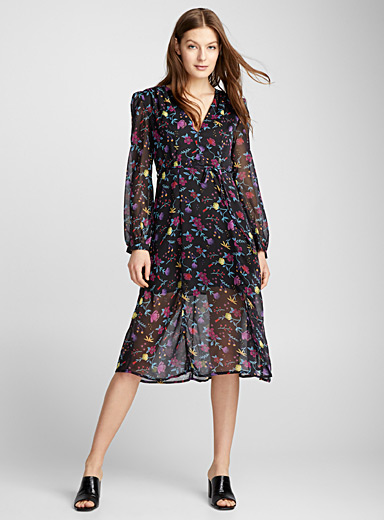 Midnight flower voile dress