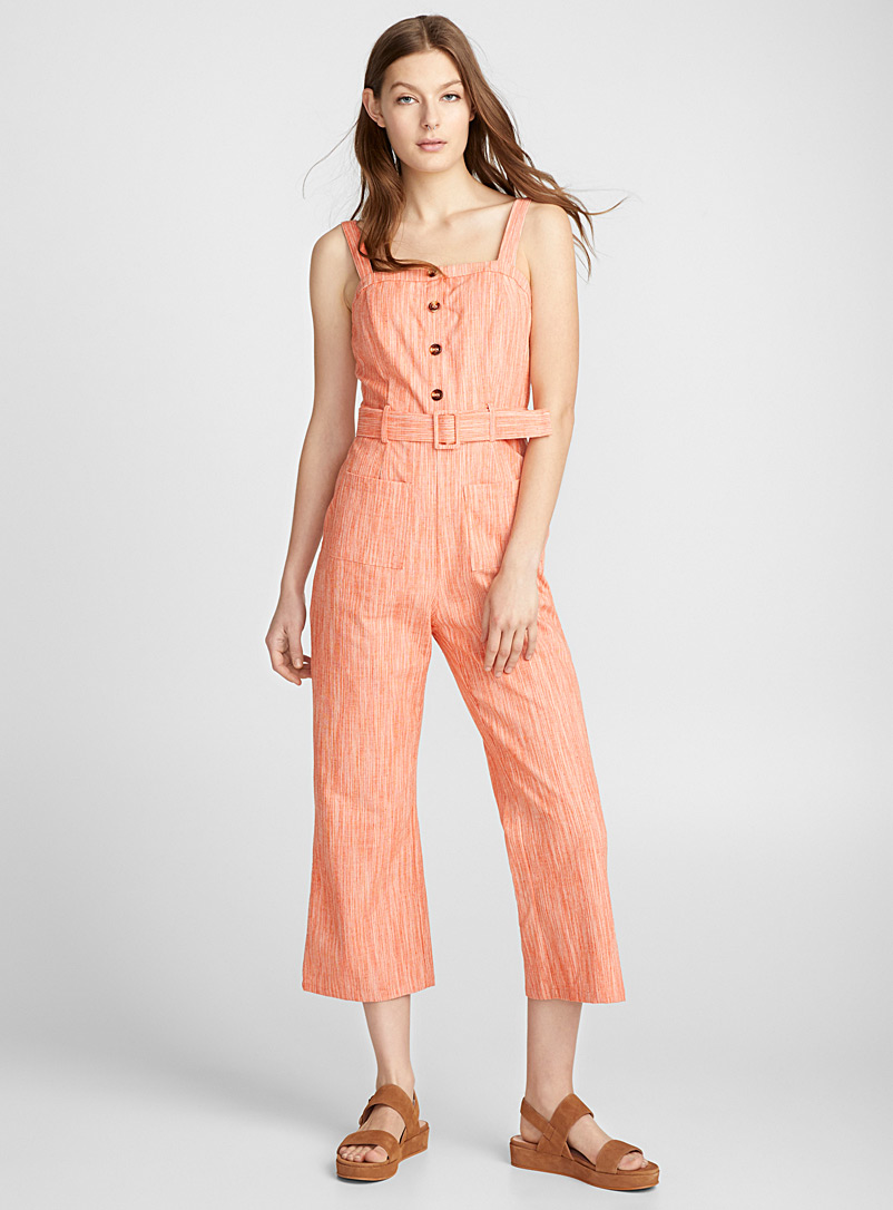 Heather orange belted jumpsuit - Jumpsuits & Rompers - Patterned Orange