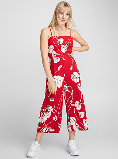 Tie-back spotted floral jumpsuit