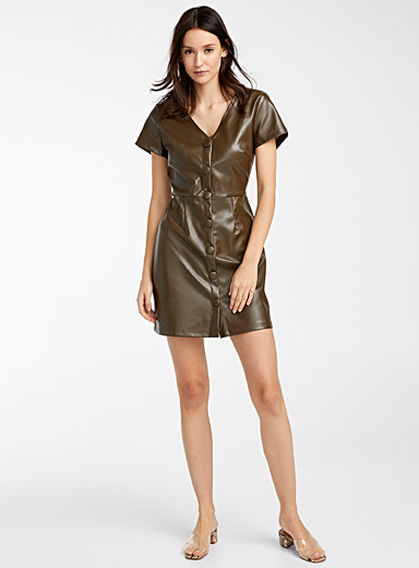 Glamorous Mossy Green Faux-leather buttoned dress for women