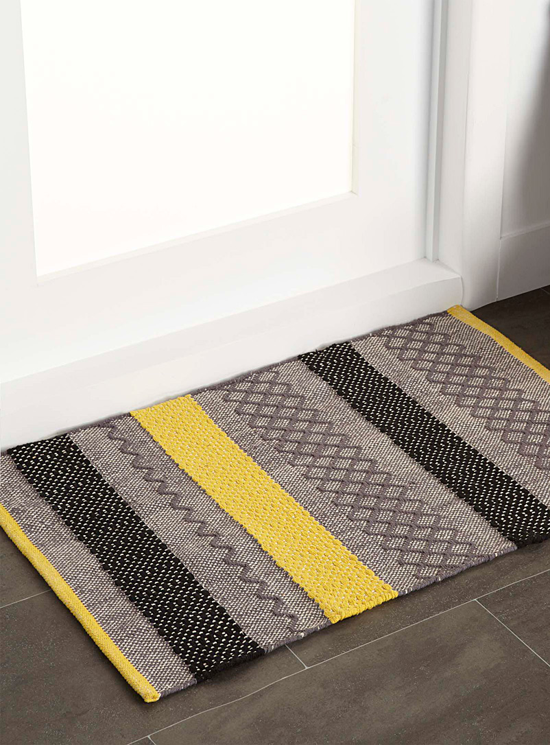 Graphic blocks floor mat  60 x 90 cm - Patterned - Medium Yellow