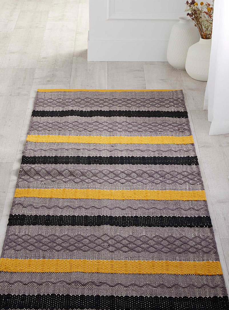 Simons Maison Medium Yellow Graphic blocks rug  75 x 215 cm