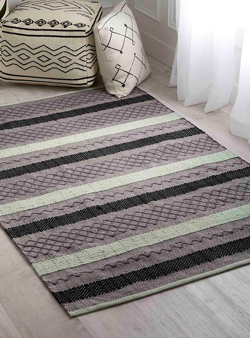 Graphic blocks rug  120 x 180 cm - Patterned - Teal