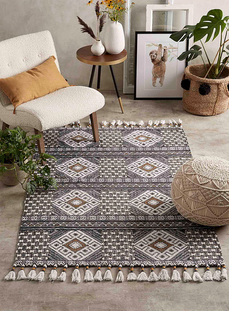 Simons Maison Patterned Black Oriental diamond rug  120 x 180 cm