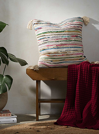 Catalogne blanket stripe cushion  50 x 50 cm