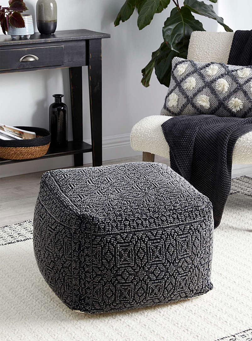 Rough mosaic cube pouf
