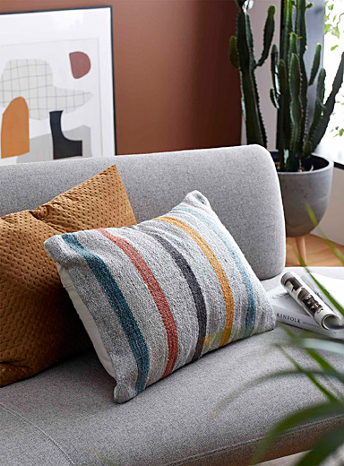 Multicoloured stripe cushion 40 x 60 cm