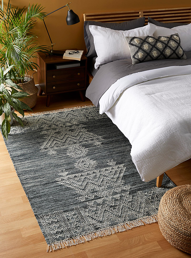 Simons Maison Patterned Grey Raw wool rug 120 x 180 cm