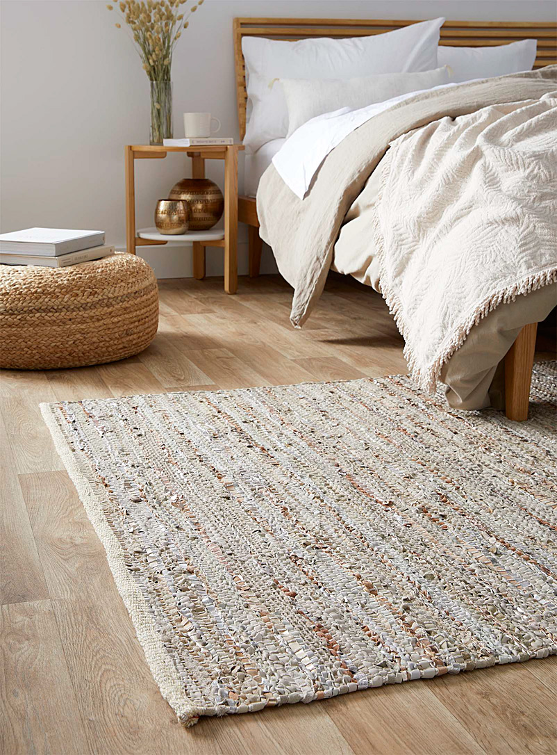 Simons Maison Patterned Ecru Braided metallic leather rug 120 x 180 cm