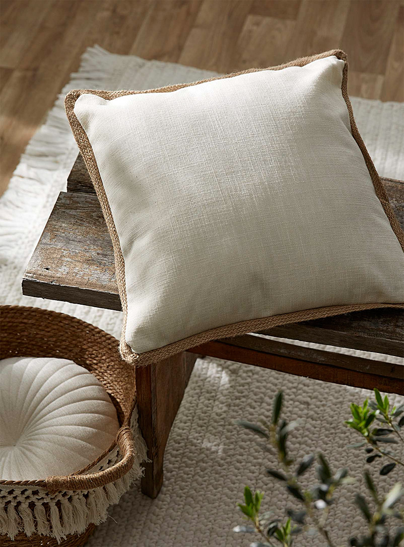 Jute-trim cushion  45 x 45 cm