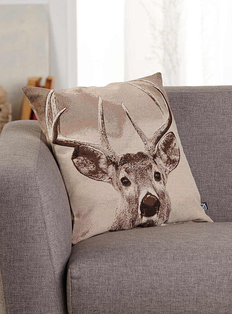 Simons Maison Assorted Woven deer head cushion  45 x 45 cm