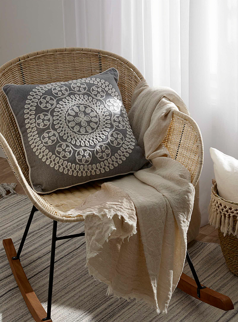 Embroidered medallion cushion  45 x 45 cm - Cushions - Light Grey