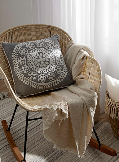 Embroidered medallion cushion <br>45 x 45 cm