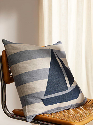 Sailboat jacquard cushion  45 x 45 cm