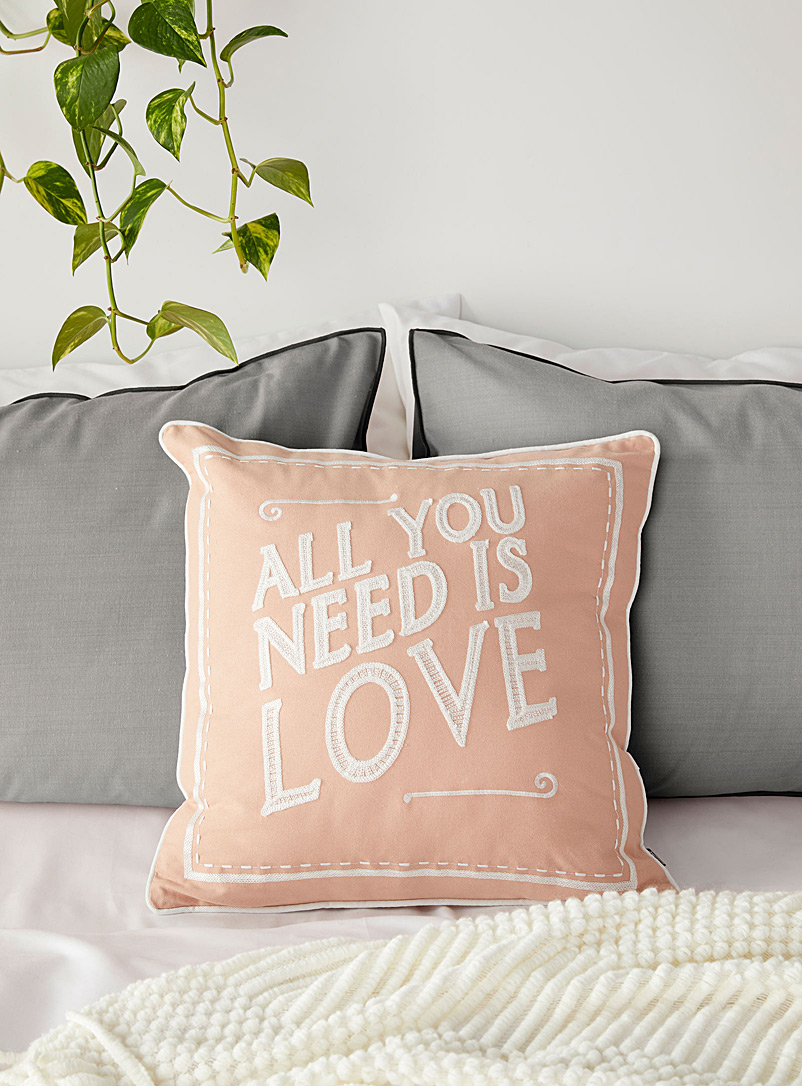 Embroidered message cushion  45 x 45 cm