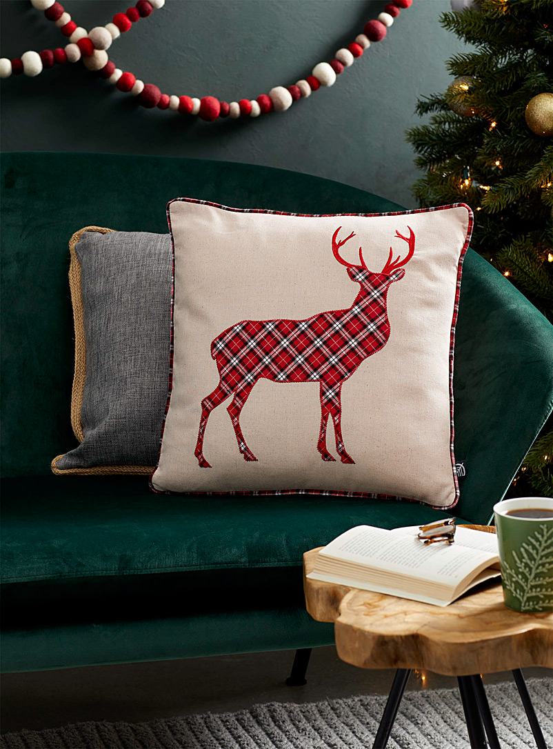 Tartan deer cushion  45 x 45 cm