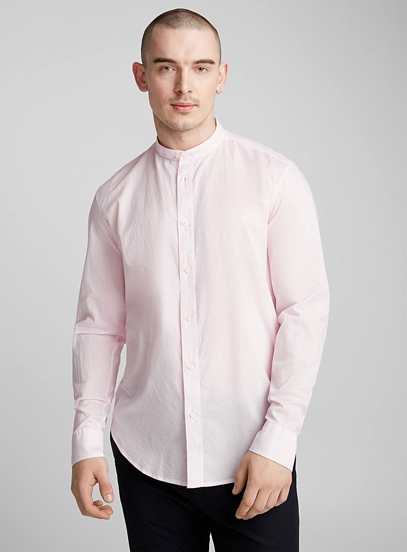 Pink officer collar shirt  Semi-tailored fit - Solid - Pink