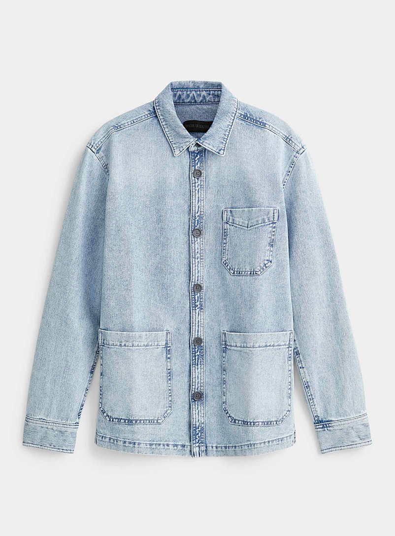 Drykorn Baby Blue Faded denim overshirt for men