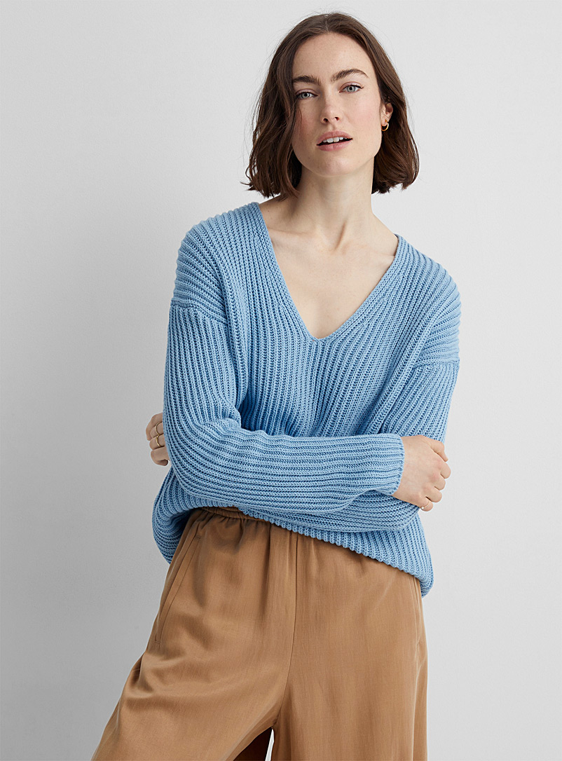 Drykorn Baby Blue Linna ribbed V-neck sweater for women