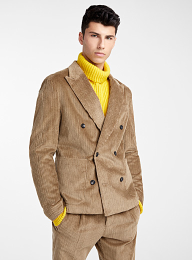 Double-breasted corduroy jacket <br>Semi-slim fit