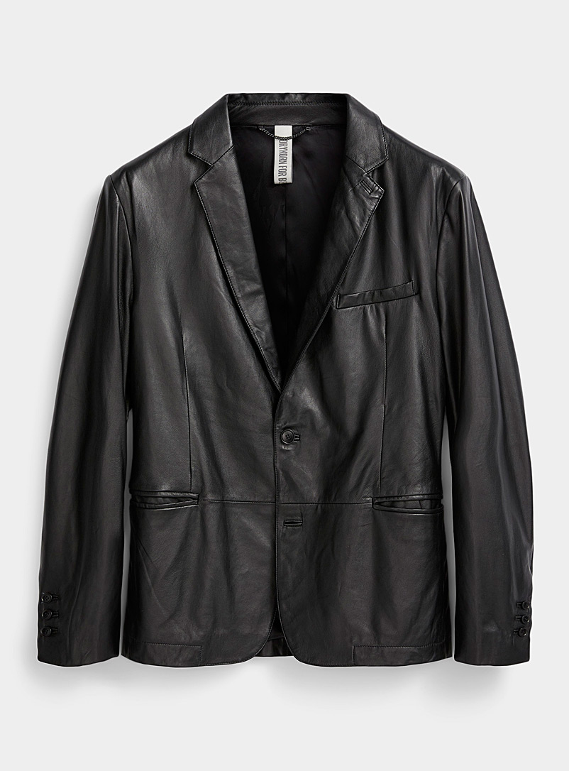 Drykorn Black Hurley leather jacket for men