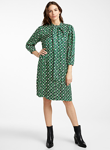 Lisbeth emerald mosaic dress