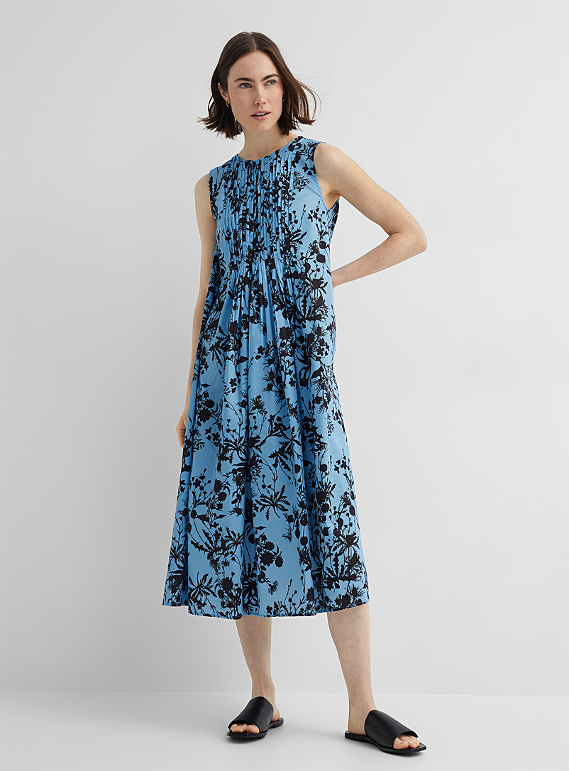 Drykorn Patterned Blue Casimira floral shadows pleated dress for women